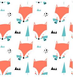 cute fox print design design vector image
