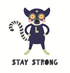 Cute lemur superhero vector