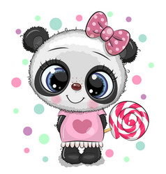 Cute panda in a dress and with lollipop vector