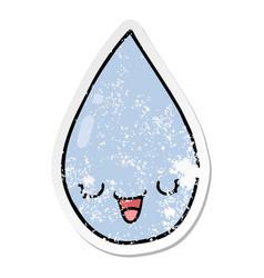 Distressed sticker a cartoon raindrop vector