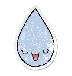 Distressed sticker of a cartoon raindrop vector