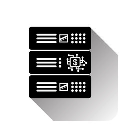dollar sign on computer chip in data center vector image