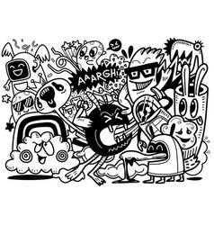 Doodle aliens and monster cartoon vector