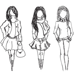 Drawn fashion girls vector