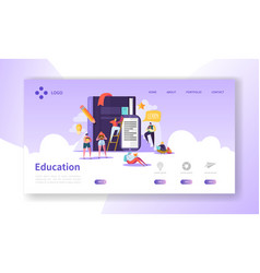 education and science landing page courses vector image
