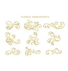 elegant golden floral decoration big set design vector image