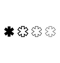 emergency star icons isolated ambulance emergency vector image