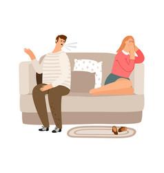 family quarrel psychological abuse vector image