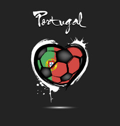 flag of portugal in the form of a heart vector image