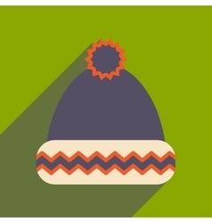 Flat icon with long shadow winter hat vector