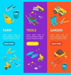 garden tools 3d icons set isometric view vector image