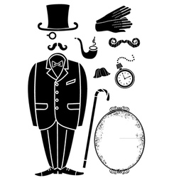 Gentleman retro suit and Accessories vector image
