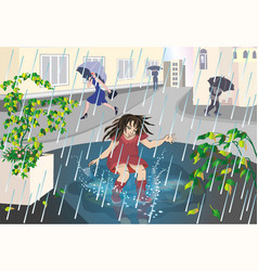 girl in the rain vector image
