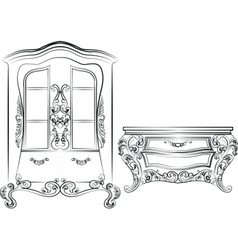 Glass case and commode table vector