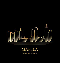 Gold silhouette of manila on black background vector