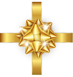 golden bow and ribbon element for decoration vector image