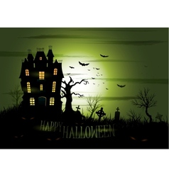 Greeny Halloween haunted mansion background vector