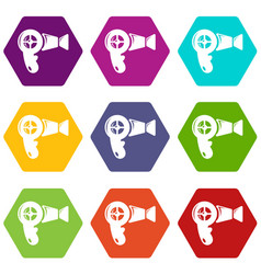 hair dryer icons set 9 vector image