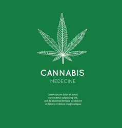 Hand drawn symbol cannabis marijuana vector