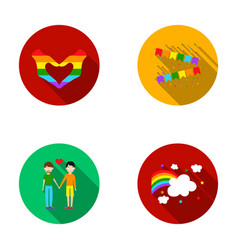 Hand with heart flag mengayset collection icons vector