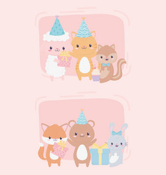 happy birthday cute animals gifts party hat vector image