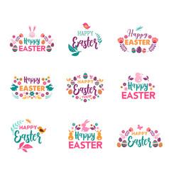 happy easter symbols logo badges vector image