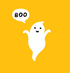 happy flying ghost with white speech bubble boo vector image