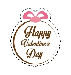 Happy valentines day card greeting round ribbon vector