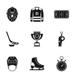 Hockey game icons set simple style vector