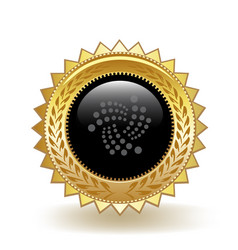 iota cryptocurrency coin gold badge vector image