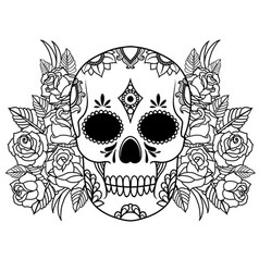 isolated a skull with roses and leaves black vector image