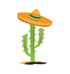 isolated cactus with a mexican hat vector image