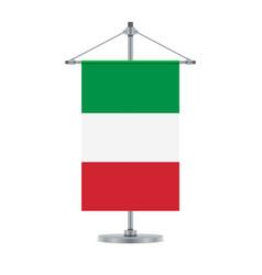 Italian flag on the cross metallic pole vector