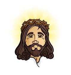 jesus christ holy son god cartoon mascot vector image