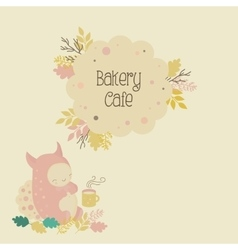 Kids bakery cafe logo and cute monster vector image