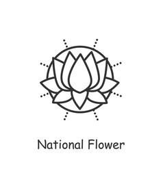 Lotus flower line icon editable vector