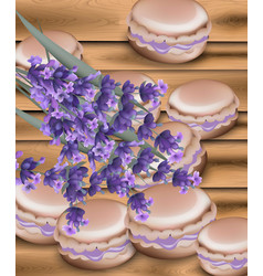 macaroon and lavender flowers realistic vector image