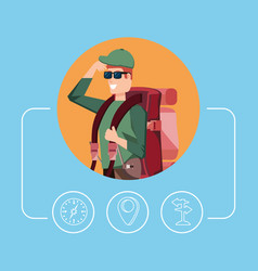 man tourist with bag camping and set icons vector image