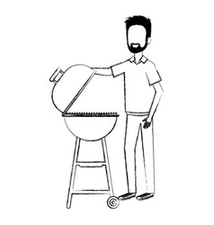 Man using grill character vector