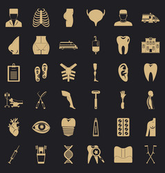Md care icons set simple style vector