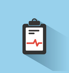medical chart icon with shade on blue background vector image