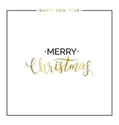 Merry Christmas gold text and happy new year vector