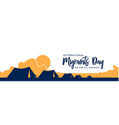 Migrants day banner of refugee tent camp vector