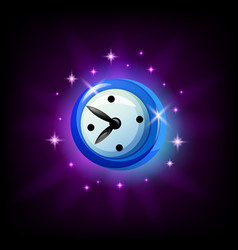 Mobile game clock or timer icon on black vector