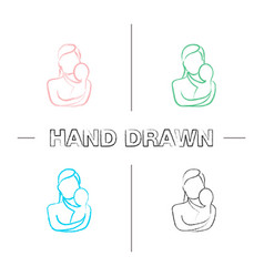 mother holding newborn baby hand drawn icons set vector image