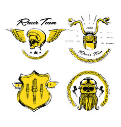 Moto biker theme icon set cafe racer golden vector