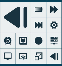 Multimedia icons set with enlarge learning fast vector