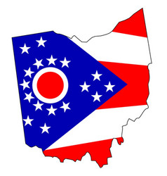 Ohio outline map and flag vector
