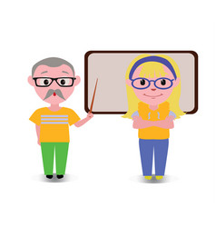 Old couple teaching lesson with black board happy vector
