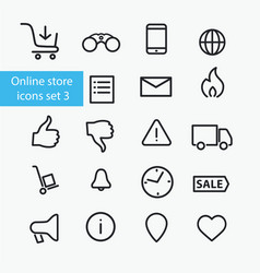 online store icons set vector image